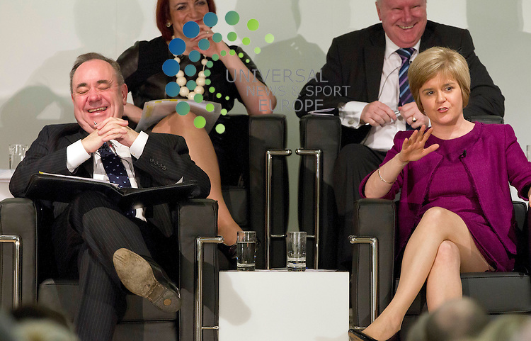 Nicola Sturgeon with Alex Salmond during the First Minister public discussion on Scottish independence in the Volunteer Rooms in Irvine after the Scottish Goverment held a Cabinet meeting in the town.Picture: Universal News And Sport (Scotland) 25 March 2014.