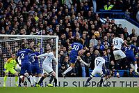 Chelsea's David Luiz heads the ball wide of the Everton goal during Chelsea vs Everton, Premier League Football at Stamford Bridge on 11th November 2018
