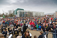 Pictured: The crowd at The Man Engine show at the Waterfront Museum in Swansea, Wales, UK. Thursday 12 April 2018<br /> Re: The largest mechanical puppet in Britain starts its tour across south Wales.<br /> Man Engine, a mechanical miner which measures 36ft (11m) tall, will appear at the Waterfront Museum in Swansea, Wales, animated by a dozen handlers.<br /> The giant is visiting areas linked to the nation's industrial past.