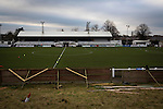 A view across the disused bank of terracing to the main stand at Victory Park, before Chorley played Altrincham in a Vanarama National League North fixture. Chorley were founded in 1883 and moved into their present ground in 1920. The match was won by the home team by 2-0, watched by an above-average attendance of 1127.