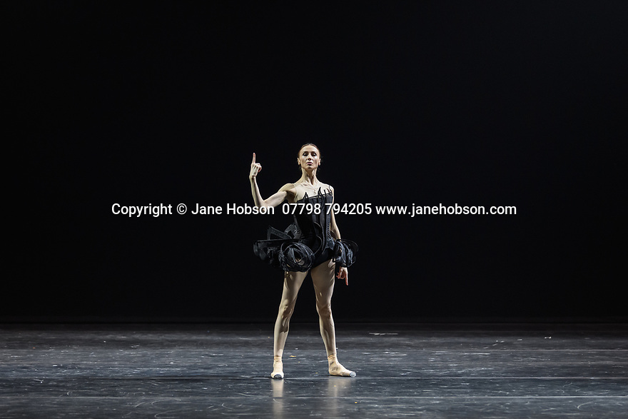 "Svetlana Zakharova, the Bolshoi's Prima and the first and only Russian Etpile at Teatro alla Scala, returns to the London Coliseum, with MODANSE, a new double bill produced by Muzarts. Zakharova is joined on stage by a cast of dancers from the Bolshoi Ballet, including Mikhail Lobukhin, Vaycheslav Lopatin, Denis Savin, Jacopo Tissi and Ana Turazashvili. The piece shown is: 'Come un Respiro"" (Like a Breath), choreographed by Mauro Bigonzetti, in its UK premiere. The dancers are: Svetlana Zakharova, Denis Savin, Jacopo Tissi, Mikhail Lobukhin, Vyacheslav Lopatin, Ana Turazashvili, Anastasia Stashkevich, Victoria Litvinova, Marfa Fyodorova, Tatiana Osipova, Anita Pudikova, Anna Zakaraya, Karim Abdullin, Alexei Gaynutdinov, Anton Gaynutdinov. Picture shows: Svetlana Zakharova."
