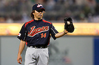 19 March 2009: #14 Takahiro Mahara of Japan pitches against Korea during the 2009 World Baseball Classic Pool 1 game 6 at Petco Park in San Diego, California, USA. Japan wins 6-2 over Korea.