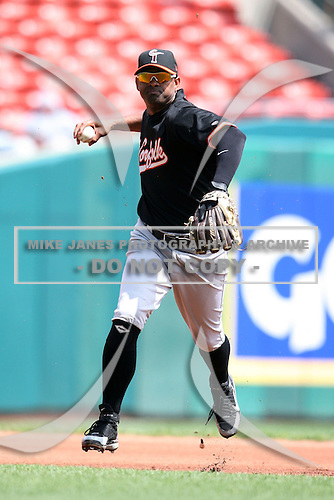 May 9, 2009:  Shortstop Jolbert Cabrera of the Norfolk Tides, International League Class-AAA affiliate of the Baltimore Orioles, throws to first during a game at Coca-Cola Field in Buffalo, FL.  Photo by:  Mike Janes/Four Seam Images