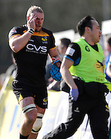 James Haskell of London Wasps leaves the pitch with a blood injury during the Aviva Premiership match between London Wasps and Saracens at Adams Park on Saturday 29th March 2014 (Photo by Rob Munro)