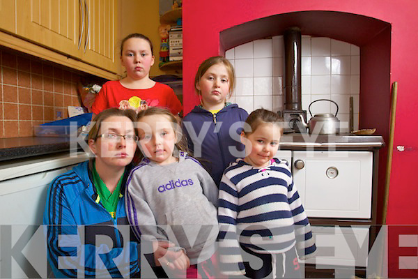 Elaine O'Sullivan who fled her house in Lixnaw with her children with her children Anita (10) Kaitlynn  (7) Keira (4) and Chloe (3) after Carbon Monoxide levels were discovered to be over twenty times the safe level.