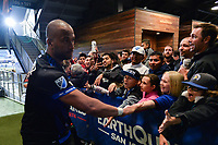 San Jose, CA - Saturday May 06, 2017: Victor Bernardez, fans after a Major League Soccer (MLS) match between the San Jose Earthquakes and the Portland Timbers at Avaya Stadium.