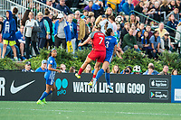 Boston, MA - Sunday September 10, 2017: Lindsey Horan and Brooke Elby during a regular season National Women's Soccer League (NWSL) match between the Boston Breakers and Portland Thorns FC at Jordan Field.