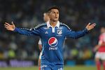 BOGOTÁ – COLOMBIA _ 02-03-2014 / En compromiso correspondiente a la novena fecha del Torneo Apertura Colombiano 2014, Millonarios venció 2 – 1 a Independiente Santa Fe en el estadio Nemesio Camacho El Campín de Bogotá. / Omar Vásquez celebra el primero tanto de Millonarios.