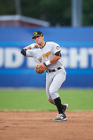 West Virginia Black Bears second baseman Kevin Mahala (5) throws to first base during a game against the Batavia Muckdogs on June 28, 2016 at Dwyer Stadium in Batavia, New York.  Batavia defeated West Virginia 3-1.  (Mike Janes/Four Seam Images)