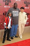 "WESTWOOD, CA. - June 07: Jaden Smith, Quinton Aaron and Jackie Chan arrive at ""The Karate Kid"" Los Angeles Premiere at Mann Village Theatre on June 7, 2010 in Westwood, California."