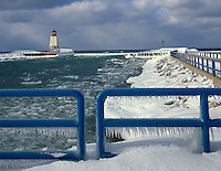 Charlevoix County, MI   <br /> Charlevoix Lighthouse and ice covered quardrails