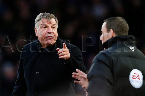 21.03.2015.  London, England. Barclays Premier League. West Ham versus Sunderland.  West Ham United's Manager Sam Allardyce has words with the fourth official
