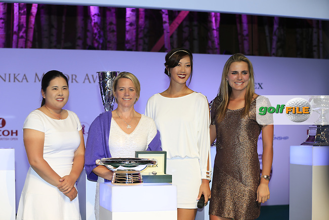 Major winners Inbee Park, Michelle Wie and Lexi Thompson with Annika Sorenstam on stage at the Rolex Annika Major Award Ceremony held in the La Grange du Lac after Saturday's Round 3 of The Evian Championship 2014 held at the Evian Resort Golf Club, Evian-les-Bains, France.: Picture Eoin Clarke, www.golffile.ie: 13th September 2014