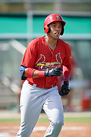 GCL Cardinals first baseman Dariel Gomez (34) runs to first base during a game against the GCL Mets on July 23, 2017 at Roger Dean Stadium Complex in Jupiter, Florida.  GCL Cardinals defeated the GCL Mets 5-3.  (Mike Janes/Four Seam Images)