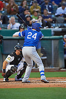 Edwin Rios (24) of the Oklahoma City Dodgers at bat against the Salt Lake Bees at Smith's Ballpark on July 31, 2019 in Salt Lake City, Utah. The Dodgers defeated the Bees 5-3. (Stephen Smith/Four Seam Images)