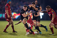 Bath Rugby's Sam Underhill in action during todays match<br /> <br /> Photographer Bob Bradford/CameraSport<br /> <br /> European Champions Cup Round 5 - Bath Rugby v Scarlets - Friday 12th January 2018 - The Recreation Ground - Bath<br /> <br /> World Copyright &copy; 2018 CameraSport. All rights reserved. 43 Linden Ave. Countesthorpe. Leicester. England. LE8 5PG - Tel: +44 (0) 116 277 4147 - admin@camerasport.com - www.camerasport.com