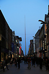 Nighttime view of Spire of Dublin, also called the Monument of Light, Henry Street, Dublin, Ireland,