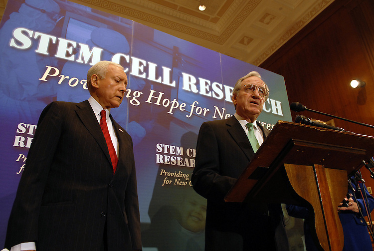 Orrin Hatch and Tom Harkin during a news conference to announce new poll results on Americans' views on embryonic stem cell research in the Dirksen Senate Office Building..Participants: Sen. Orrin Hatch, R-Utah; Sen. Dianne Feinstein, D-Calif.; and Sen. Tom Harkin, D-Iowa