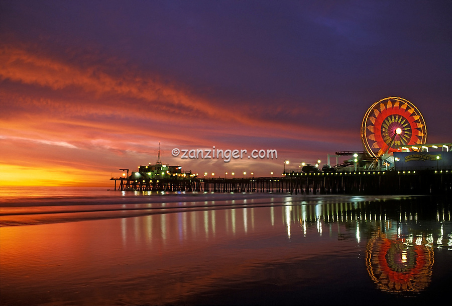 Santa Monica CA Pacific Park Pier Hero Sunset, Ocean, Low Tide, Light Reflecting in Water