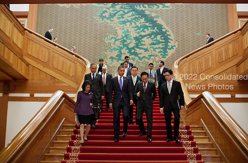 United States President Barack Obama and President Lee Myung-bak of the Republic of Korea walk down the grand staircase following their bilateral meeting at the Blue House in Seoul, Republic of Korea, March 25, 2012. .Mandatory Credit: Pete Souza - White House via CNP