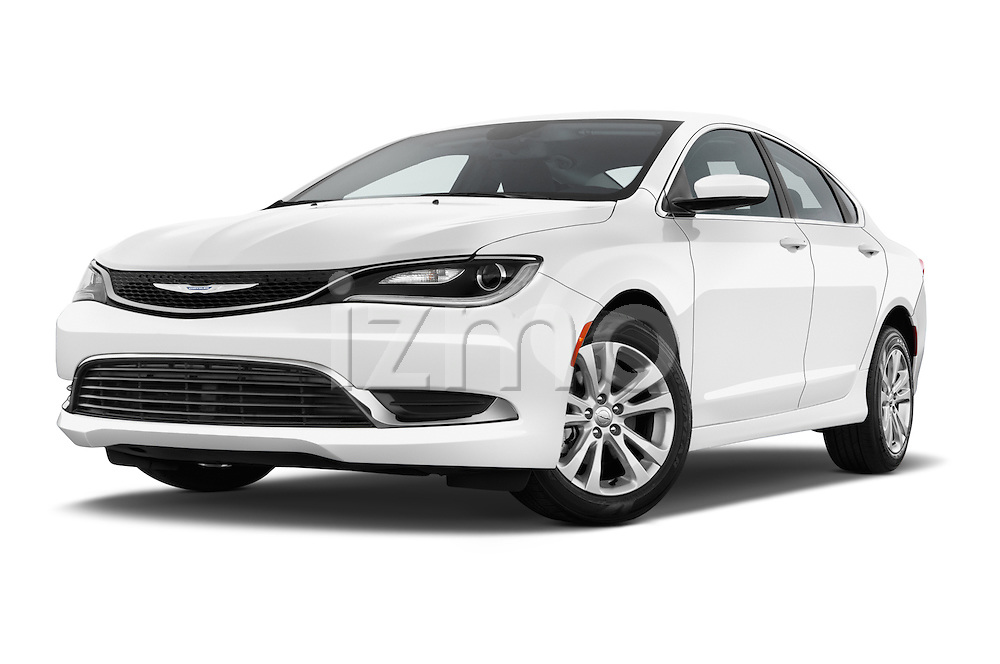Stock pictures of low aggressive front three quarter view of a 2015 Chrysler 200 Limited 4 Door Sedan 2WD Low Aggressive