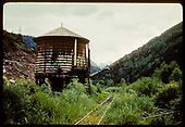 RGS water tank at Deep Creek (MP 35.3), looking south.  Sometimes called &quot;Tank&quot;.<br /> RGS  Deep Creek, CO  Taken by Jackson, Richard B. - 8/11/1952