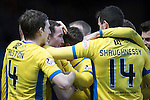 Ross County v St Johnstone&hellip;18.02.17     SPFL    Global Energy Stadium, Dingwall<br />Chris Kane is mobbed by his team mates after scoring the late winning goal<br />Picture by Graeme Hart.<br />Copyright Perthshire Picture Agency<br />Tel: 01738 623350  Mobile: 07990 594431