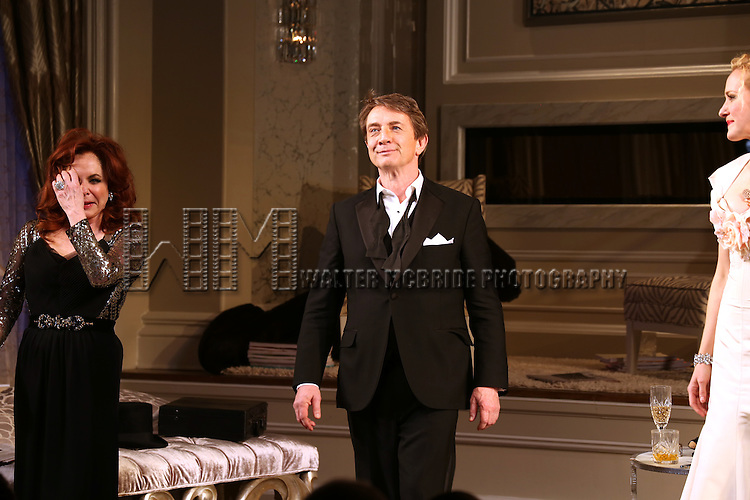 Stockard Channing, Martin Short and Katie Finneran during the re-opening night Curtain Call for 'It's Only A Play' at the Bernard B. Jacobs Theatre on January 23, 2014 in New York City.
