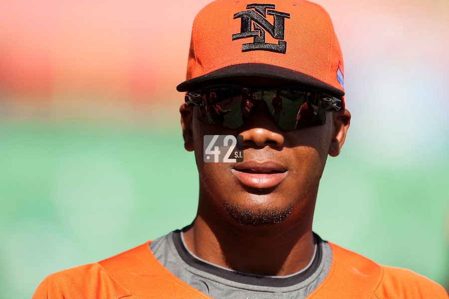 11 March 2009: #50 Kenley Jansen of the Netherlands waits during batting practice prior to the 2009 World Baseball Classic Pool D game 6 at Hiram Bithorn Stadium in San Juan, Puerto Rico. Puerto Rico wins 5-0 over the Netherlands
