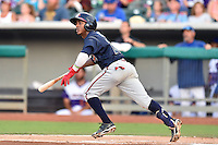 Mississippi Braves second baseman Ozzie Albies (20) swings at a pitch during a game against the Tennessee Smokies at Smokies Stadium on July 23, 2016 in Kodak, Tennessee. The Braves defeated the Smokies 3-0. (Tony Farlow/Four Seam Images)