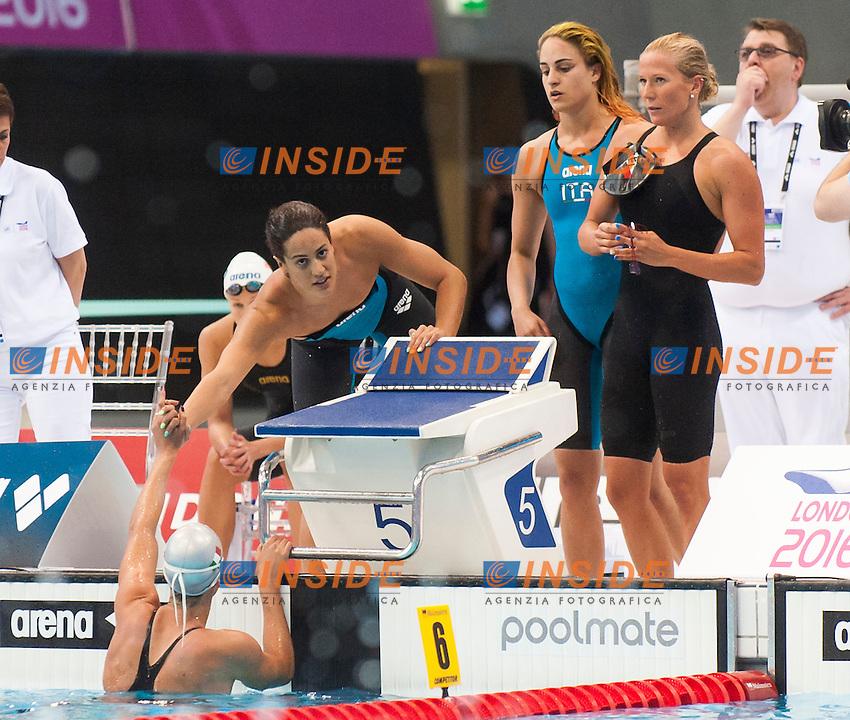 Team ITA<br /> London, Queen Elizabeth II Olympic Park Pool <br /> LEN 2016 European Aquatics Elite Championships <br /> Swimming<br /> Women's 4x100m freestyle preliminary <br /> Day 08 16-05-2016<br /> Photo Giorgio Perottino/Deepbluemedia/Insidefoto