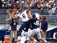 November 2, 2013  (State College, Pennsylvania)  Running back Josh Ferguson #6 of the Illinois Fighting Illini misses a completion broken up by linebacker Ben Kline #38 of the Penn State Nittany Lions  Penn State won in OT 24-17. (Photo by Don Baxter/Media Images International)