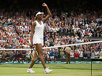 Venus Williams (10) of United States celebrates her victory over Jelena Ostapenko (13) of Latvia in their Ladies' Singles Quarter Final Match today - Williams def Ostapenko 6-3, 7-5<br /> <br /> Photographer Ashley Western/CameraSport<br /> <br /> Wimbledon Lawn Tennis Championships - Day 8 - Tuesday 11th July 2017 -  All England Lawn Tennis and Croquet Club - Wimbledon - London - England<br /> <br /> World Copyright &not;&copy; 2017 CameraSport. All rights reserved. 43 Linden Ave. Countesthorpe. Leicester. England. LE8 5PG - Tel: +44 (0) 116 277 4147 - admin@camerasport.com - www.camerasport.com