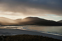 Rain falling over Isle of Harris, Viewed from Luskentyre Beach, Outer Hebrides, Scotland