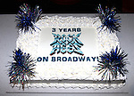 The Ensemble cast of 'Rock Of Ages' backstage at the Helen Hayes Theatre celebrating their 3rd year on Broadway. 4/3/2012