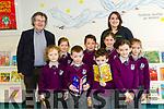 Prizewinners at the opening of Gaeilscoil Faithleann's school library on Friday last. <br /> front l-r Brodie N&iacute; Bhriain, Tom&aacute;s &Oacute; Math&uacute;na, Donal &Oacute; Suilleabhain, Jennifer Ni Riabhaigh and Charlie Ni Loich&eacute;ad.<br /> Back l-r Author Gabriel Fitzmaurice, Amelia Ni Chear&uacute;il Cheallaigh, Setanta &Oacute; Muirthille, Dara Nic Ch&aacute;rt&aacute;igh and Natalie Mattock (Easons).