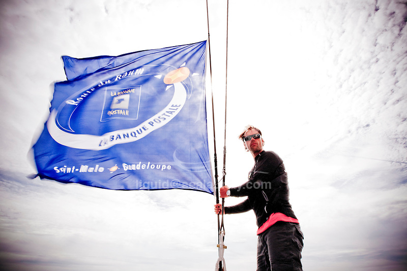 Thomas Coville onboard Sodebo in Preparation for La Route du Rhum La Banque Postale  2010.