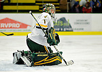 12 December 2009: University of Vermont Catamount goaltender John Vazzano, a Sophomore from Trumbull, CT, warms up prior to a game against the St. Lawrence University Saints at Gutterson Fieldhouse in Burlington, Vermont. The Catamounts shut out their former ECAC rival Saints 3-0. Mandatory Credit: Ed Wolfstein Photo