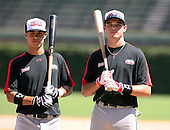 August 18 2008:  Stephen Perez and Jacye Boyd of the Baseball Factory team during the 2008 Under Armour All-American Game at Wrigley Field in Chicago, Illinois.  (Copyright Mike Janes Photography)