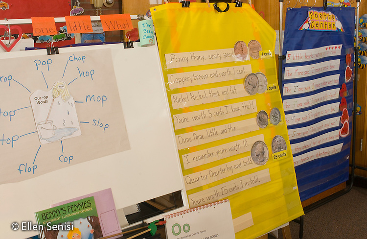 Schenectady, NY.Zoller School (urban elementary public school) Kindergarten.Display in Kindergarten classroom includes phonics web and poem for math lesson that helps students remember the value of coins (money)..© Ellen B. Senisi
