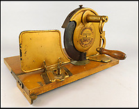 BNPS.co.uk (01202 558833)<br /> Pic: Golding,Young&amp;Mawer/BNPS<br /> <br /> A late 19thC bread or bacon slicer.<br /> <br /> A collection of quirky 100-year-old kitchen gadgets designed to make life easier for the Mary Berry of Victorian days have emerged for sale.<br /> <br /> Long before Kenwood Chef and KitchenAid were the must-have items, these unusual tools - which include mincers, chopping devices and a butter churn - were the forerunners.<br /> <br /> Unlike their popular modern counterparts, many of the tools were too expensive for most people to buy and were not highly reliable and so are rarely found today.<br /> <br /> The 25 kitchen items, which date from the late 19th and early 20th century, are being sold by Golding, Young &amp; Mawer auctionhouse and are expected to fetch thousands of pounds.