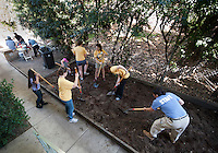 Women Organizing Resources, Knowledge and Services (W.O.R.K.S.) Seed, <br /> Highland Village. Occidental College's MLK Day of Service on Saturday, Jan. 28, 2012. Students, staff and alumni volunteered their day to help in the community. (Photo by Marc Campos, Occidental College Photographer)