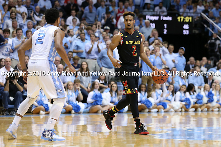 01 December 2015: Maryland's Melo Trimble (right) and North Carolina's Joel Berry II (left). The University of North Carolina Tar Heels hosted the University of Maryland Terrapins at the Dean E. Smith Center in Chapel Hill, North Carolina in a 2015-16 NCAA Division I Men's Basketball game. UNC won the game 89-81.