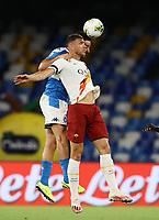 5th July 2020; Stadio San Paolo, Naples, Campania, Italy; Serie A Football, Napoli versus Roma; Edin Dzeko of AS Roma wins the header from a cross