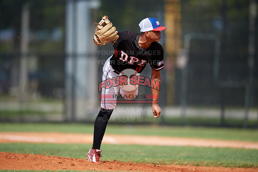 Steward Adames (16) during the Dominican Prospect League Elite Florida Event at Pompano Beach Baseball Park on October 15, 2019 in Pompano beach, Florida.  (Mike Janes/Four Seam Images)