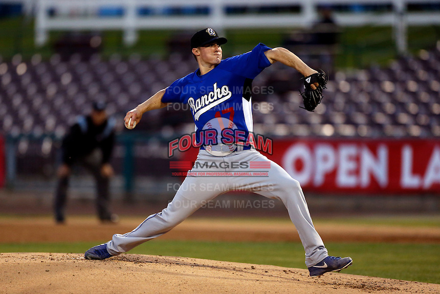 Ross Stripling #17 of the Rancho Cucamonga Quakes throws in the bullpen before pitching against the Inland Empire 66'ers at San Manuel Stadium on April 24, 2013 in San Bernardino, California. Inland Empire defeated Rancho Cucamonga, 2-1. (Larry Goren/Four Seam Images)