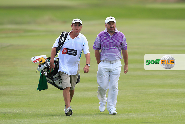 Damien McGrane (IRL) and his caddie Pete Futcher on the 2nd fairway during Round 2 of the Open de Espana  in Club de Golf el Prat, Barcelona on Friday 15th May 2015.<br /> Picture:  Thos Caffrey / www.golffile.ie