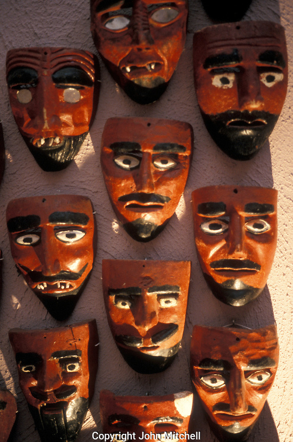 Wooden devil masks on display in the Museo Rafael Coronel, which is housed in the ruins of the 16th century ex-Convento de San Francisco, city of Zacatecas, Mexico