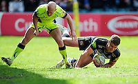 Ollie Devoto of Bath Rugby scores the opening try of the match. Aviva Premiership match, between Bath Rugby and Sale Sharks on April 23, 2016 at the Recreation Ground in Bath, England. Photo by: Patrick Khachfe / Onside Images