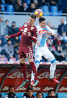 Antonio Barreca and Jose Callejon  during the  italian serie a soccer match,between SSC Napoli and Torino       at  the San  Paolo   stadium in Naples  Italy , December 18, 2016
